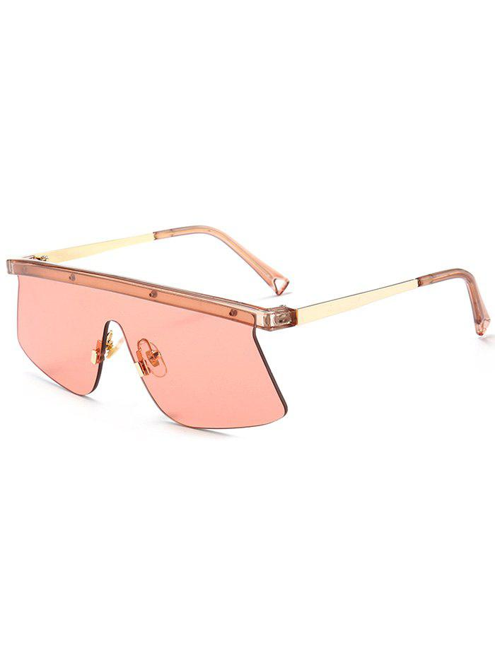 Semi Rimless Mirror Shield Sunglasses - LIGHT RED