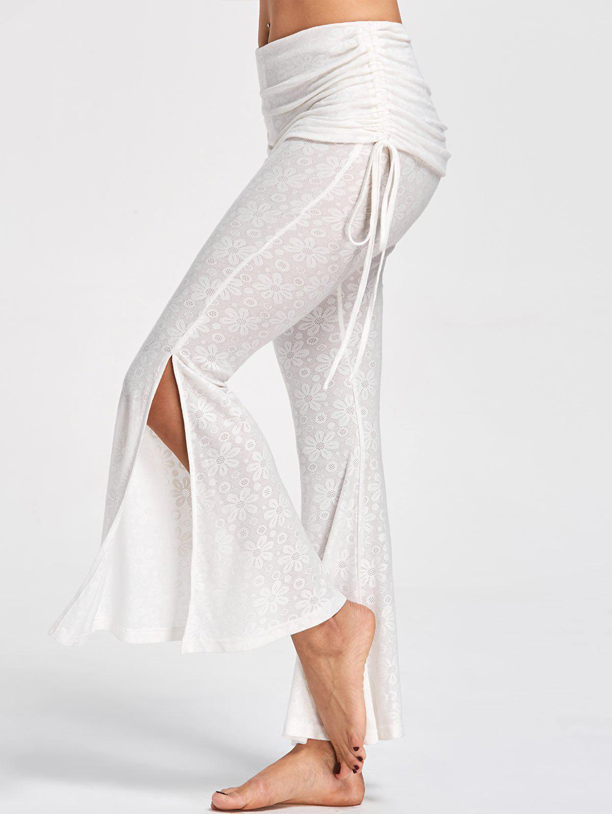 Foldover Floral Slit Flare Pants - OFF WHITE 2XL