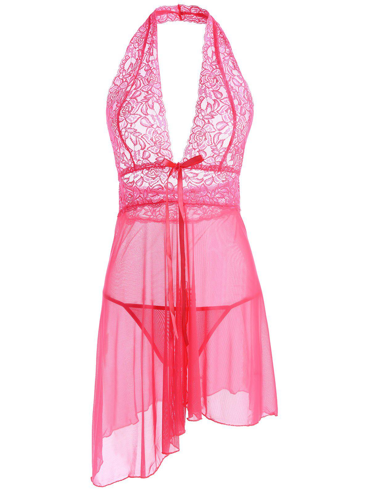 See Through Split Split Mesh Babydoll - Eau Rouge ONE SIZE