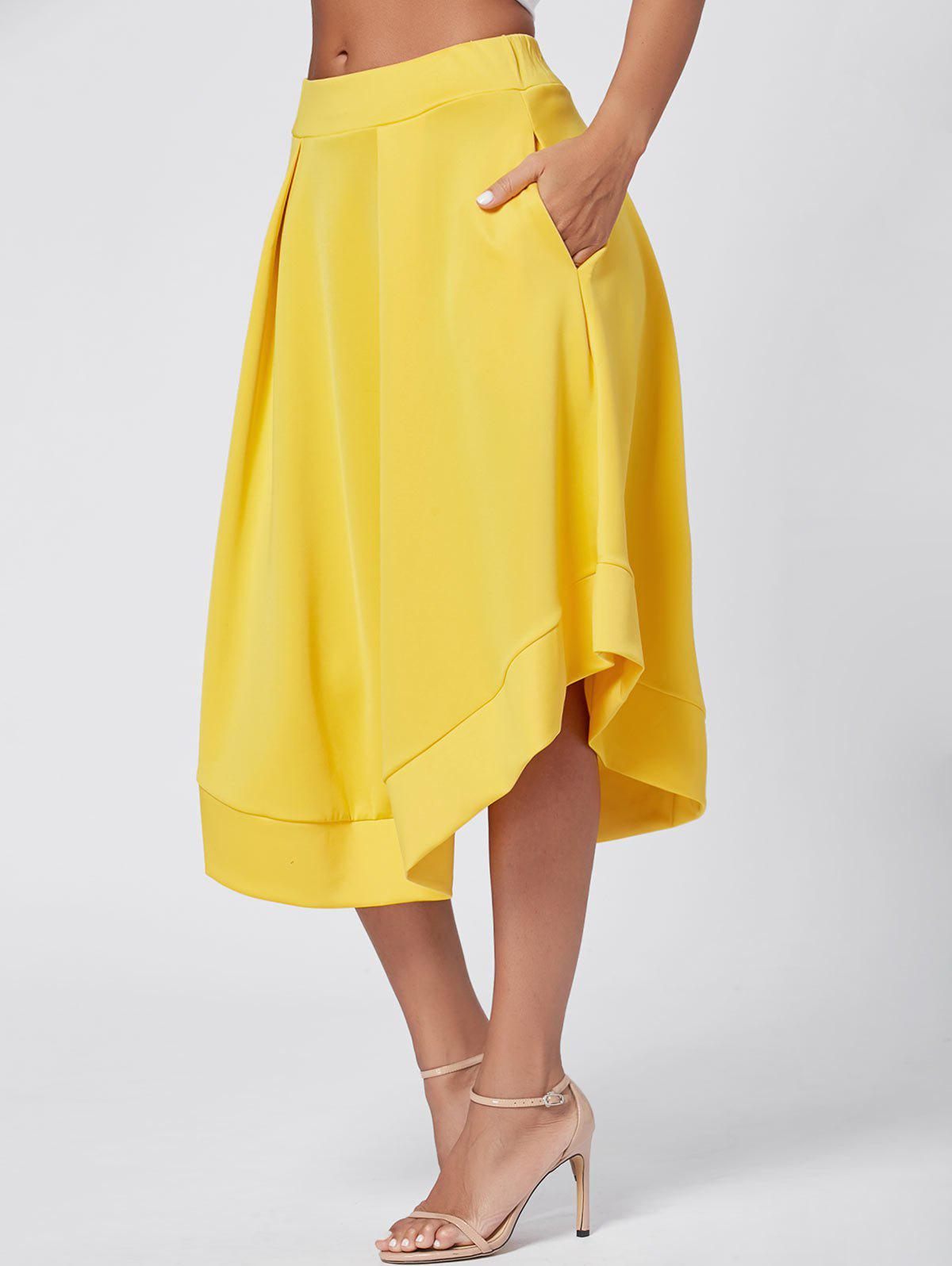 High Waist Midi Flared Skirt - YELLOW S