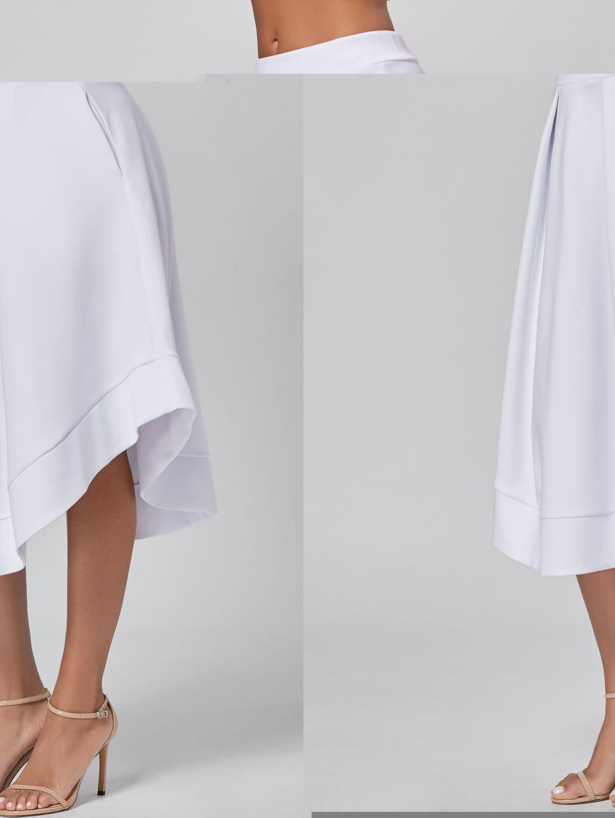 High Waist Midi Flared Skirt - WHITE XL