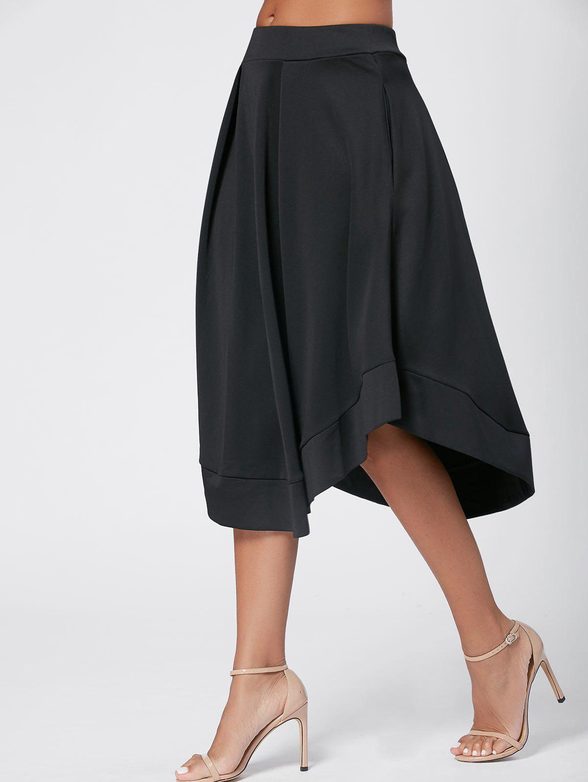 High Waist Midi Flared Skirt - BLACK M