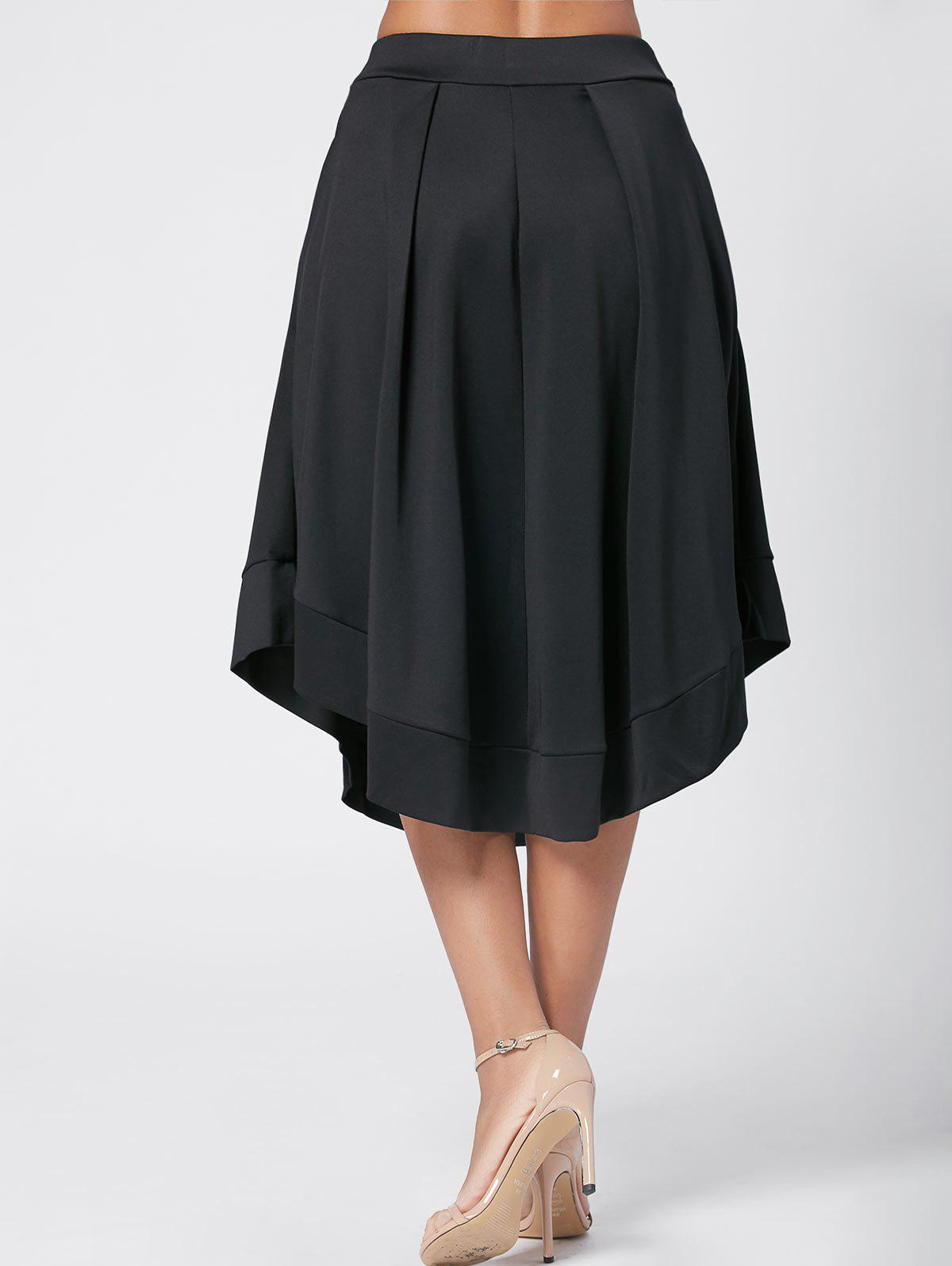 High Waist Midi Flared Skirt - BLACK 2XL