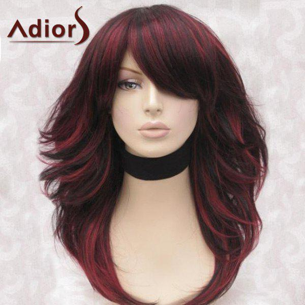Les adeptes Long Inclined Bang Highlight Peluche synthétique fluffy straight - Noir et Rouge