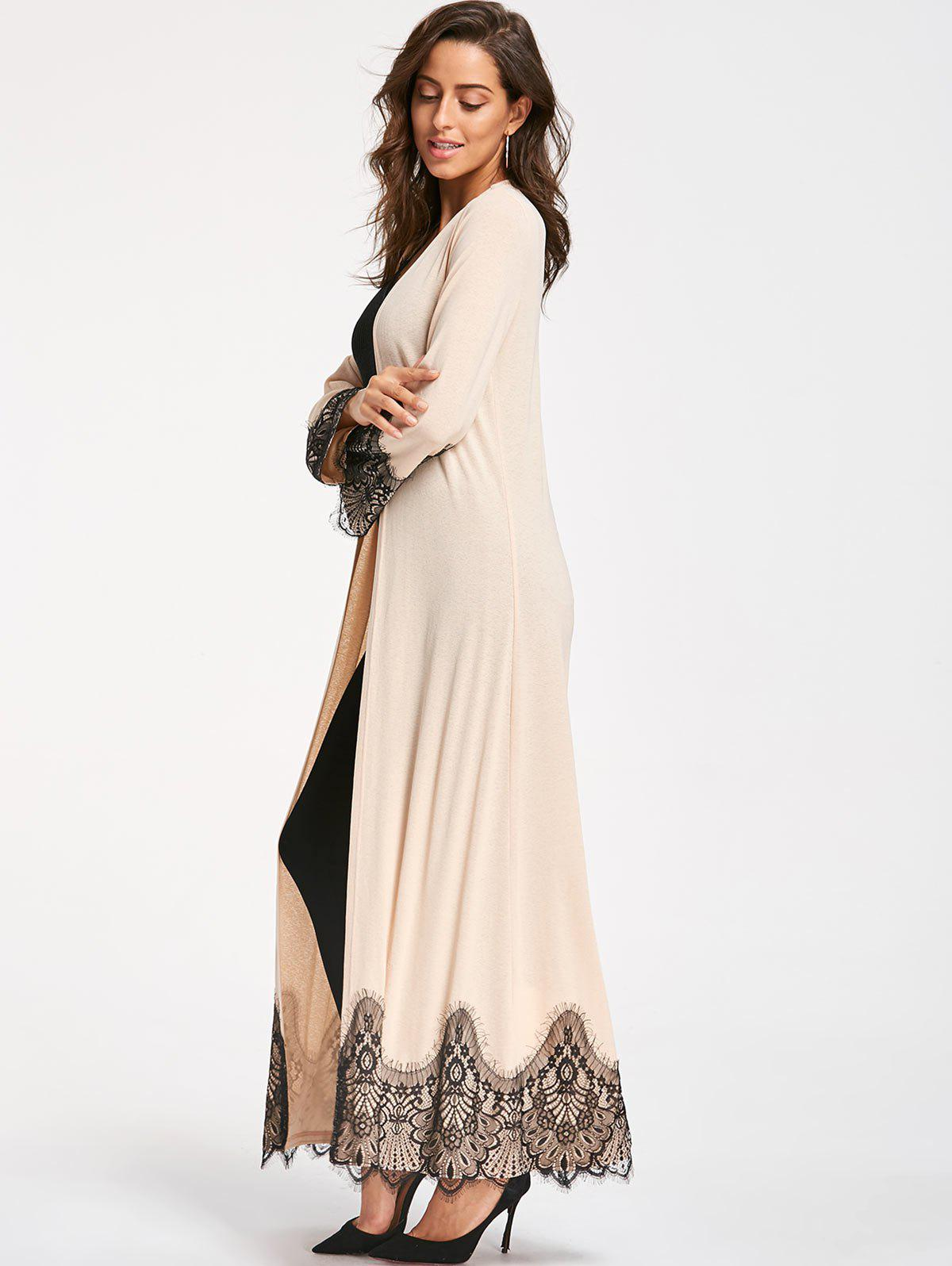 Eyelash Lace Trim Longline Cardigan - APRICOT 2XL