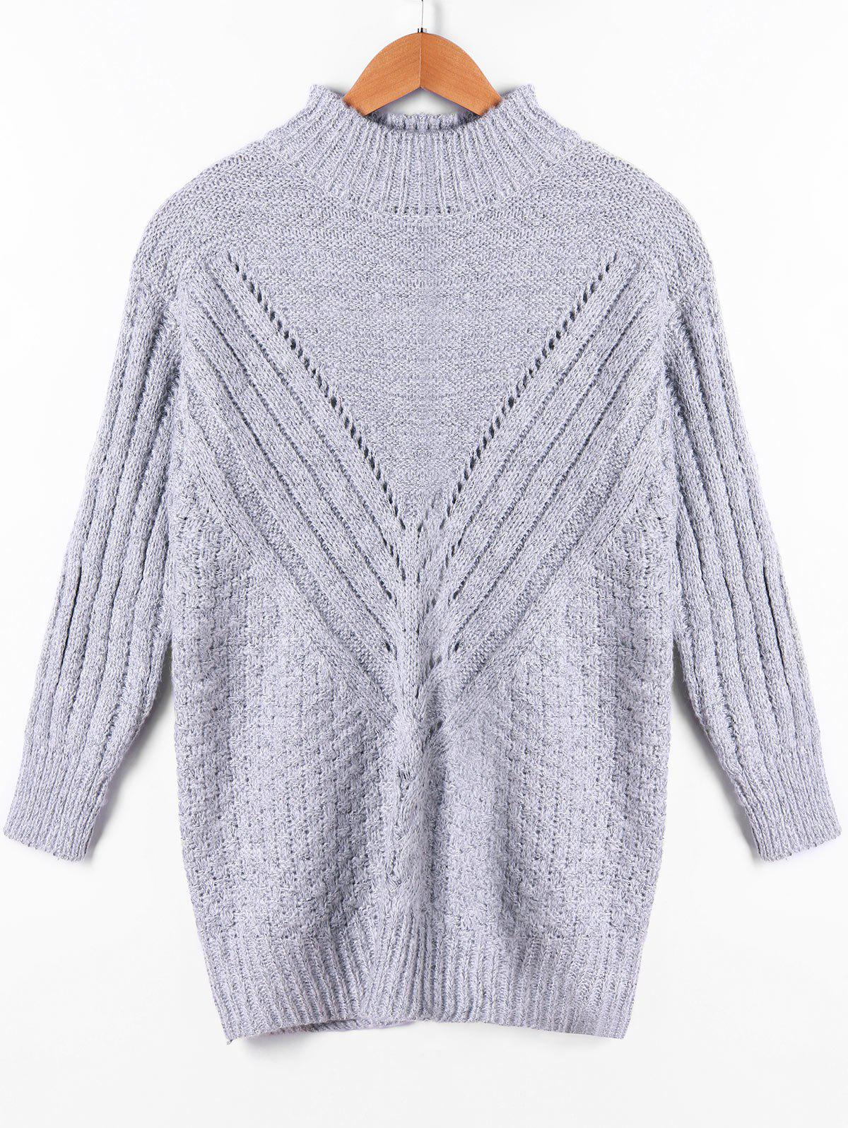 Openwork Insert Ribbed High Neck Sweater