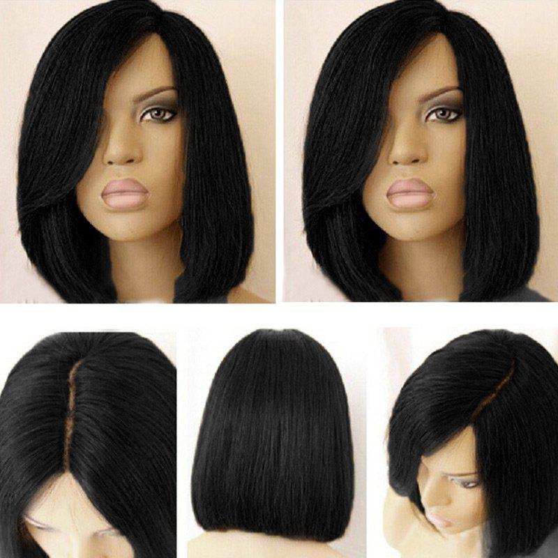 Short Side Part Dark Root Straight Bob Colormix Synthetic Wig - BLACK