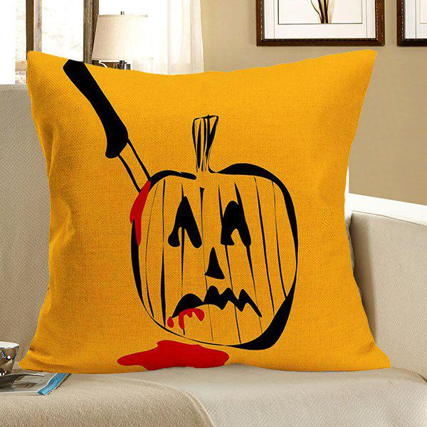 Linen Halloween Killing Pumpkin Pattern Pillow Case - GRAY W18 INCH * L18 INCH