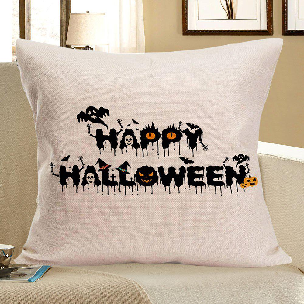 Happy Halloween Skulls Printed Linen Pillow Slip - BLACK W18 INCH * L18 INCH