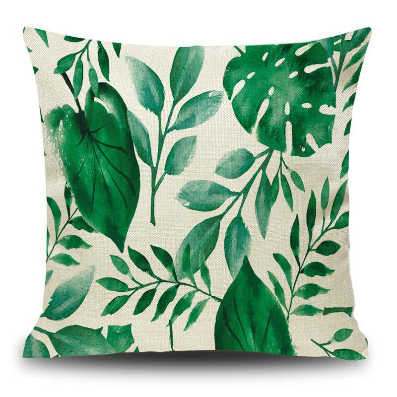 Linen Leaf Print Decorative Pillow Case - DEEP GREEN 45*45CM
