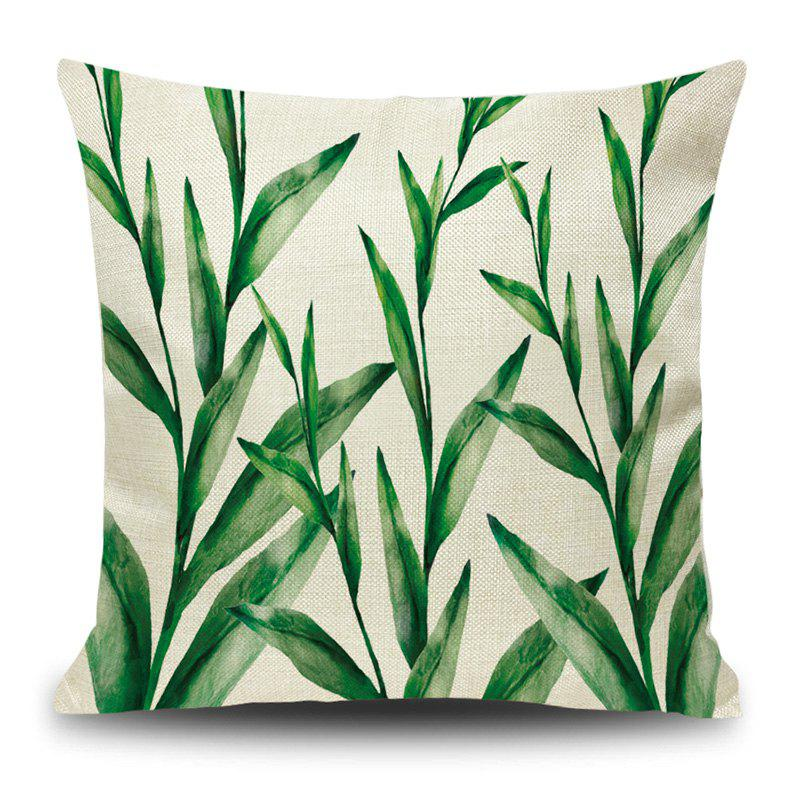 Linen Leaf Print Decorative Pillow Case - GREEN 45*45CM