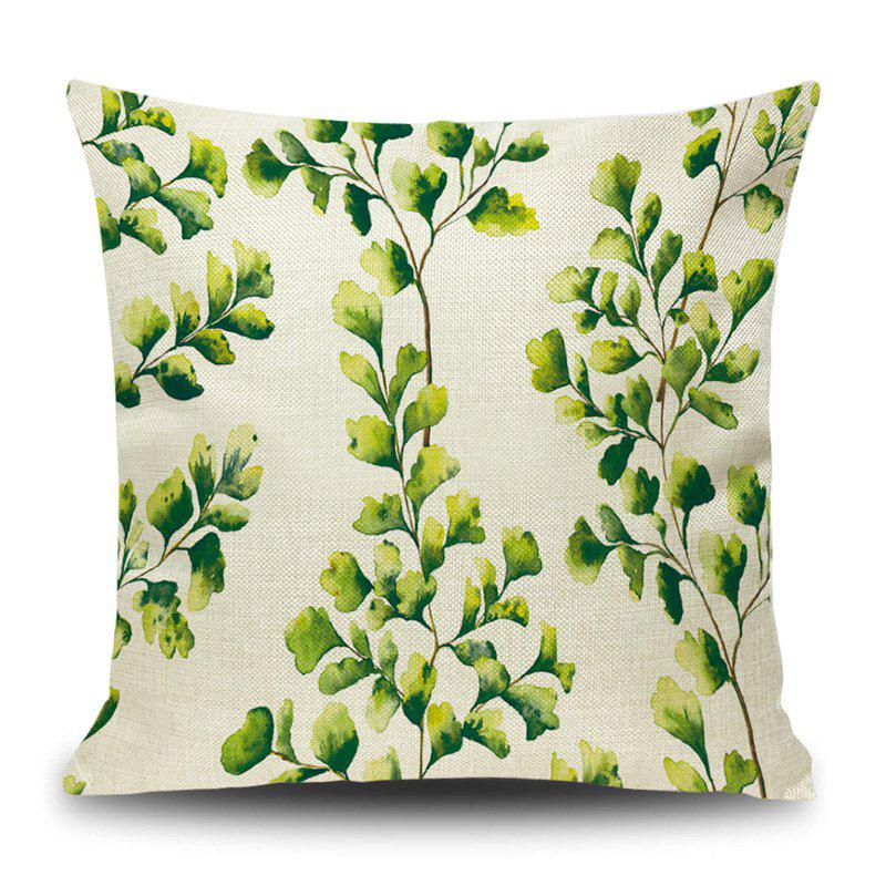 Linen Leaf Print Decorative Pillow Case - CELADON 45*45CM