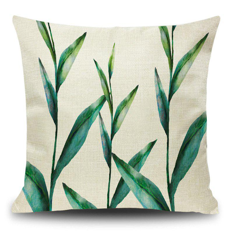 Linen Leaf Print Decorative Pillow Case - BLACKISH GREEN 45*45CM