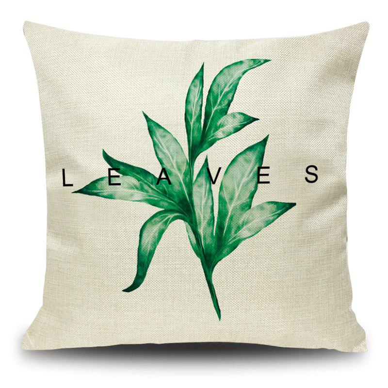 Linen Leaf Print Decorative Pillow Case - GRASS GREEN 45*45CM