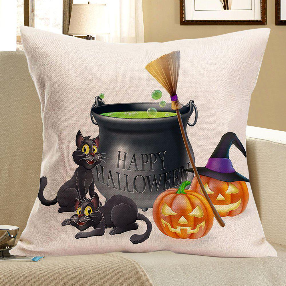 Cats Pumpkins Halloween Happy Party Printed Pillow Case happy halloween soft pumpkins ghost printed pillow case