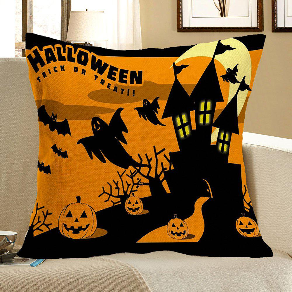 Halloween Castle Pumpkins Bats Printed Pillow Case - COLORFUL W18 INCH * L18 INCH