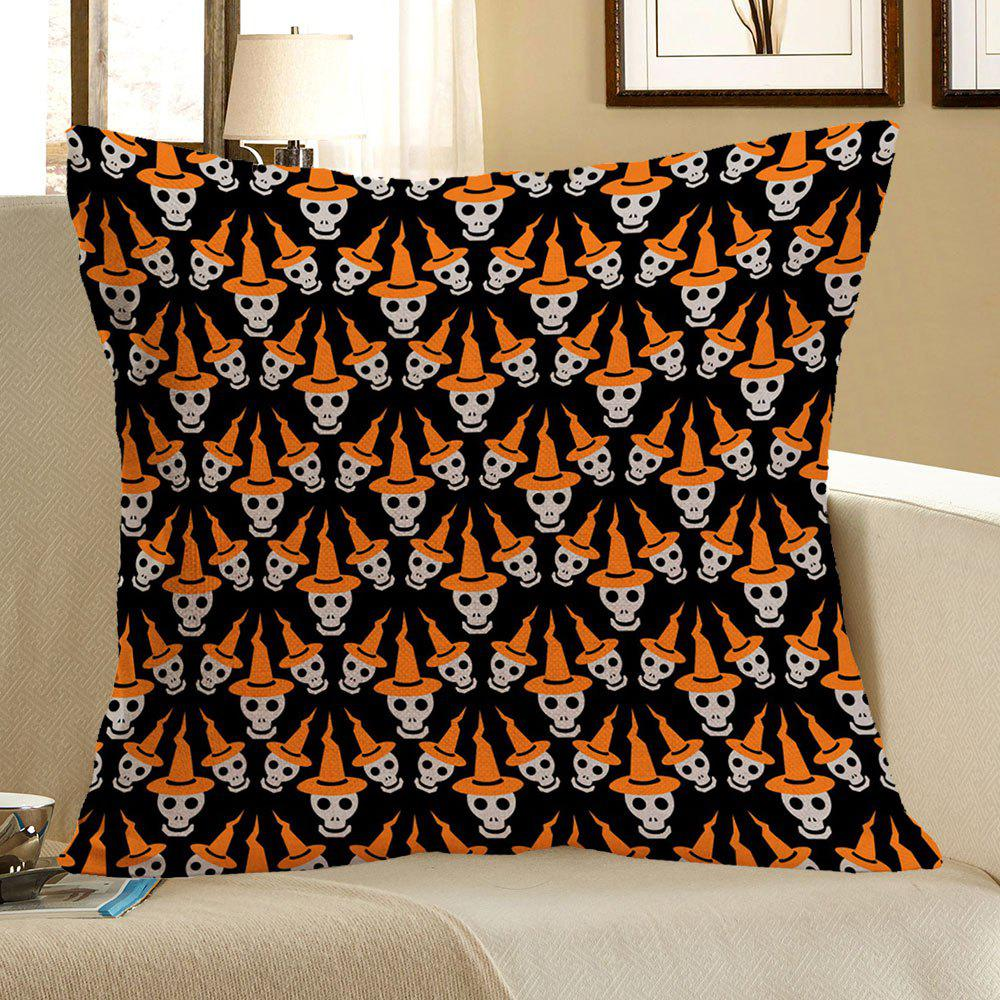 Halloween Multi Skulls Printed Linen Pillow Case - COLORMIX W18 INCH * L18 INCH
