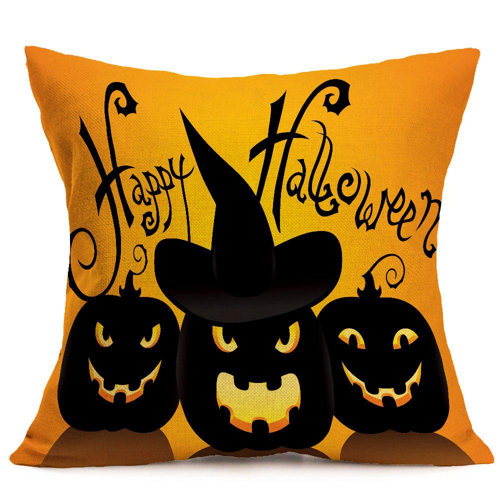 Halloween Pumpkin Skulls Pattern Linen Pillow Case - BLACK/ORANGE W18 INCH * L18 INCH