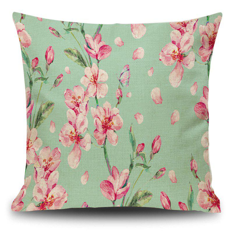 Linen Decorative Flower Print Pillow Case - PHOTO MAGENTA 45*45CM
