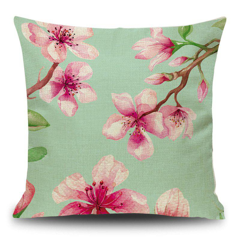 Linen Decorative Flower Print Pillow Case - PINK 45*45CM