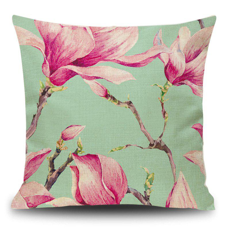 Linen Decorative Flower Print Pillow Case - LIGHT PINK 45*45CM
