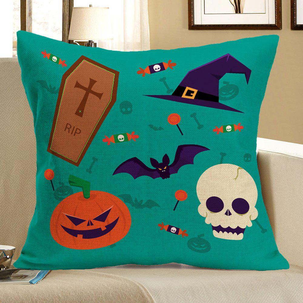 Halloween Pumpkin Bat Skull Candies Printed Pillow Case - COLORFUL W18 INCH * L18 INCH