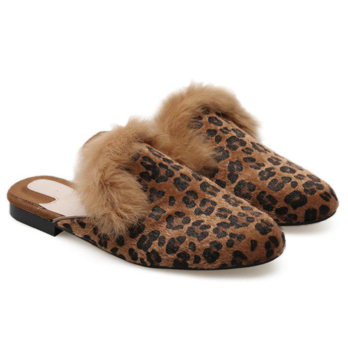 Flat Faux Fur Leopard Mules Shoes - BROWN LEOPARD 37