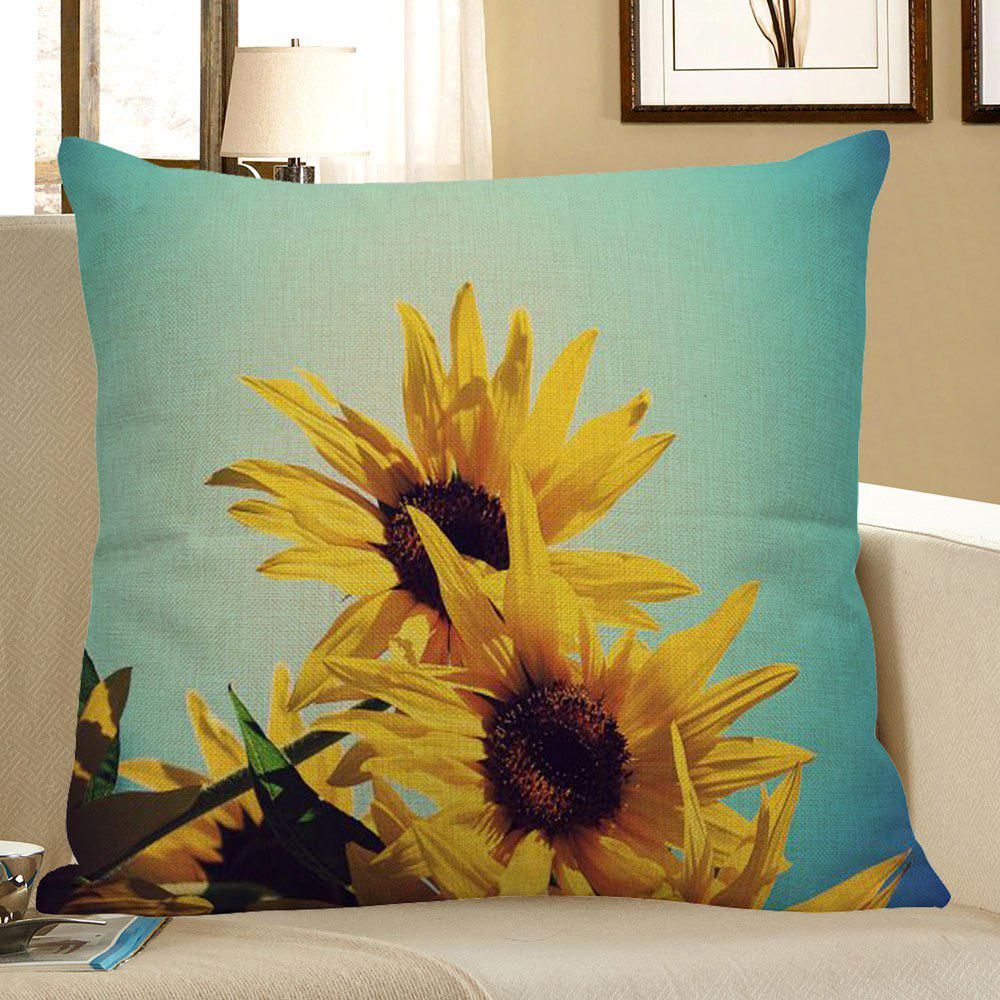 Sunflowers Pattern Square Pillow Case - YELLOW W18 INCH * L18 INCH