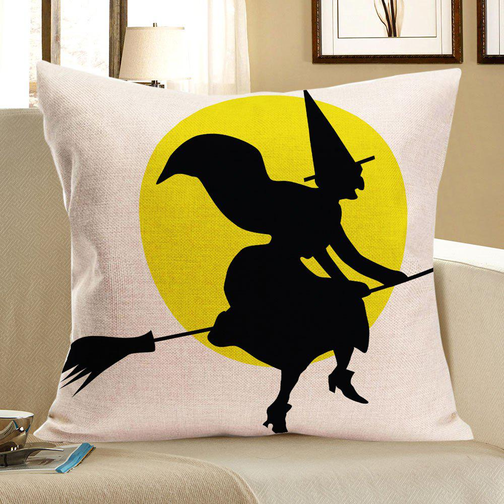 Halloween Witch Pattern Linen Pillow Case - COLORMIX W18 INCH * L18 INCH