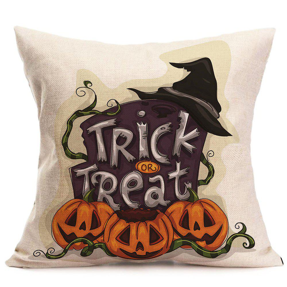 Halloween Trick Or Treat Pumpkin Patterned Pillow Case - COLORFUL W18 INCH * L18 INCH