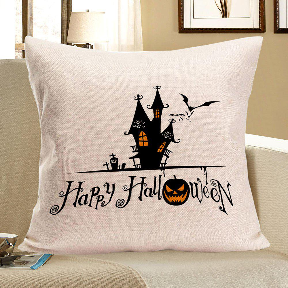 Halloween Castle Printed Pillow Case - BLACK W18 INCH * L18 INCH
