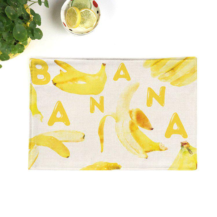 Fruit Printed Linen Table Decorative Placemat - BRIGHT YELLOW 28*44CM