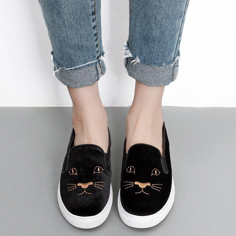 Kitten Embroidered Velvet Slip On Sneakers - BLACK 38