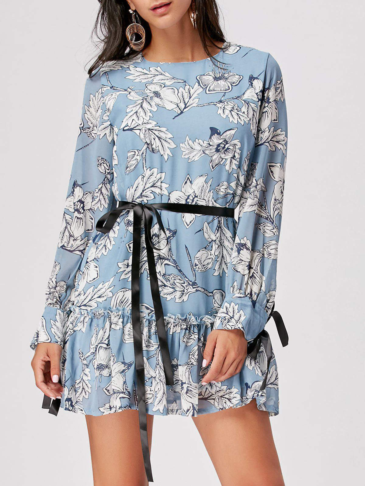 Long Sleeve Chiffon Floral Dress - CLOUDY S