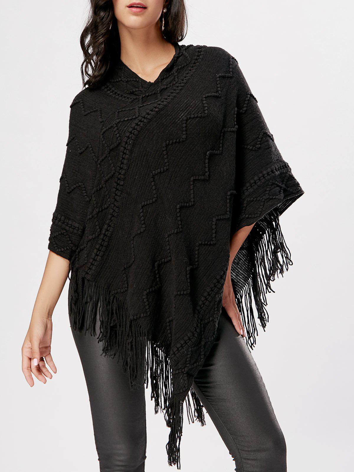 V Neck Fringe Knitted Cape - BLACK S