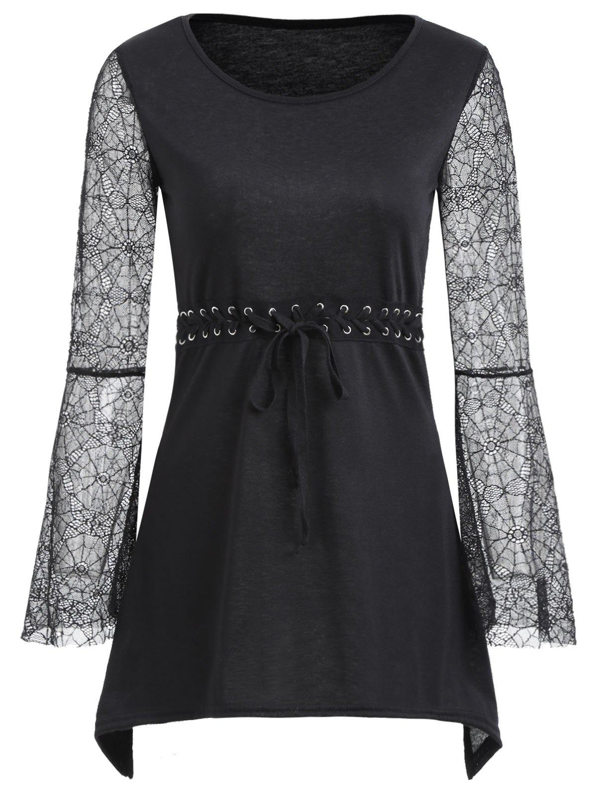 Spider Lace Flare Sleeve Lace-up Tunic Top от Dresslily.com INT