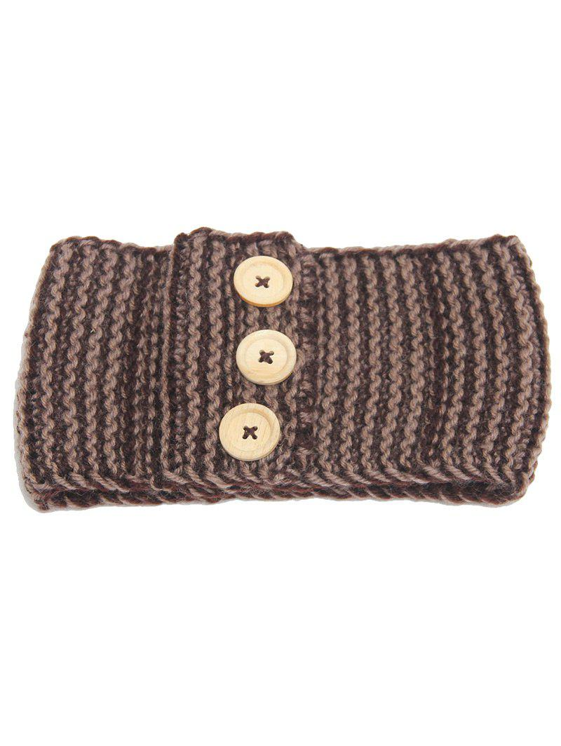 Crochet Button Warm Elastic Hair Band - KHAKI