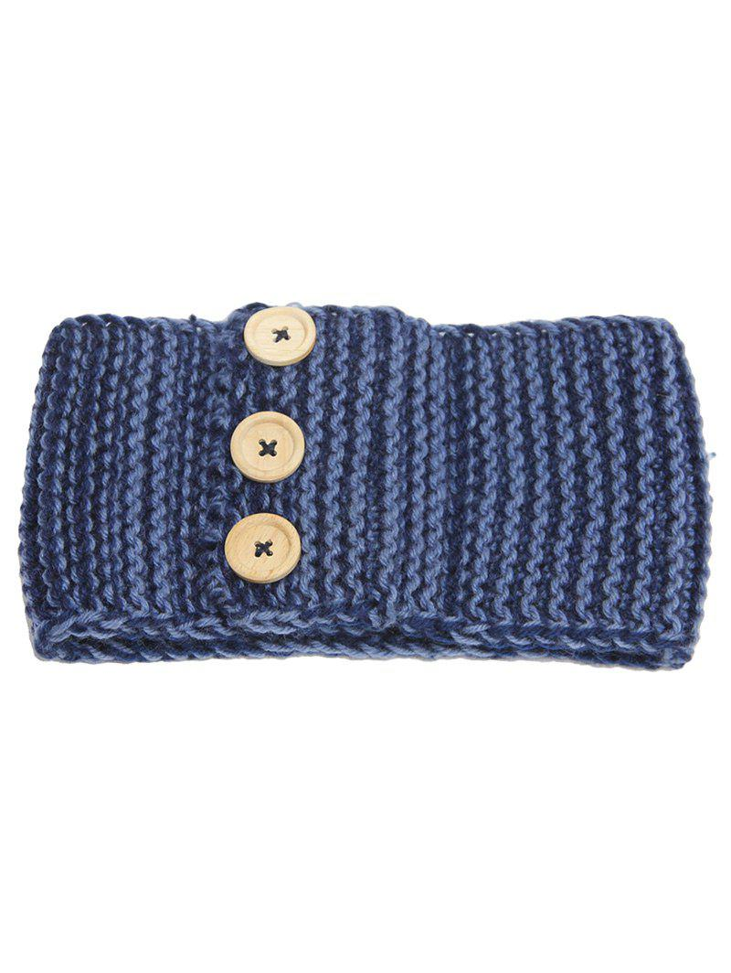 Crochet Button Warm Elastic Hair Band - CADETBLUE