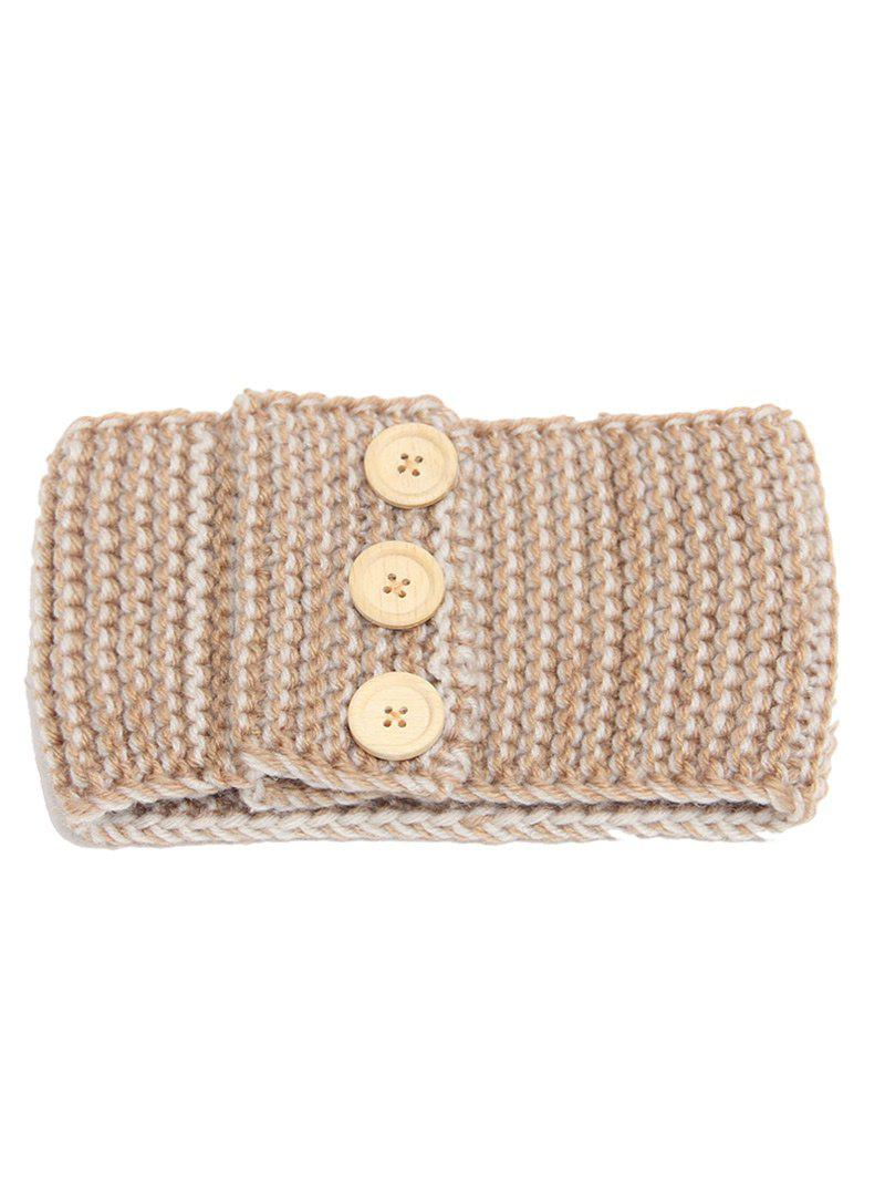 Crochet Button Warm Elastic Hair Band - CAMEL