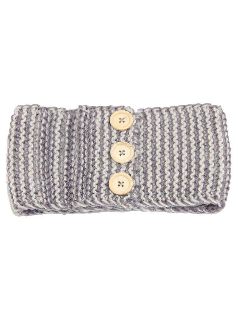 Crochet Button Warm Elastic Hair Band - gris