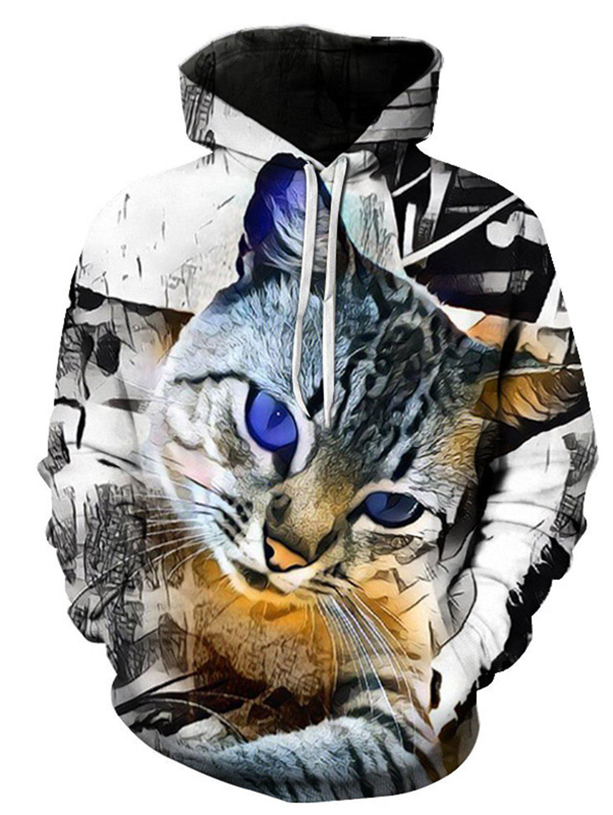 Pocket 3D Cat Print Pullover Hoodie - COLORMIX 2XL