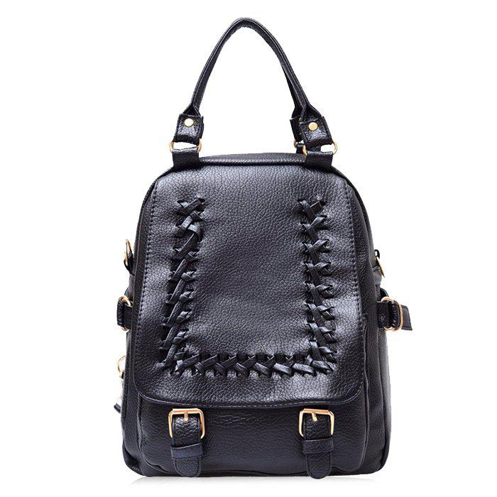 Braid Double Buckle Straps Faux Leather Backpack - Noir