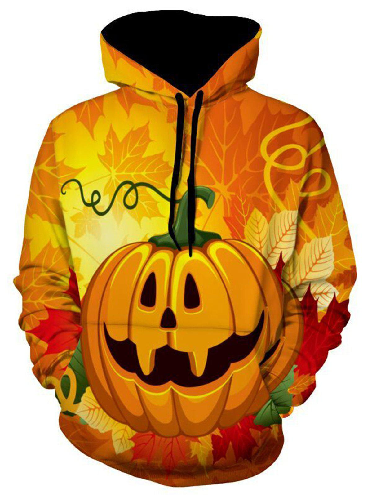 Leaves and Pumpkin Halloween Hoodie - COLORMIX XL