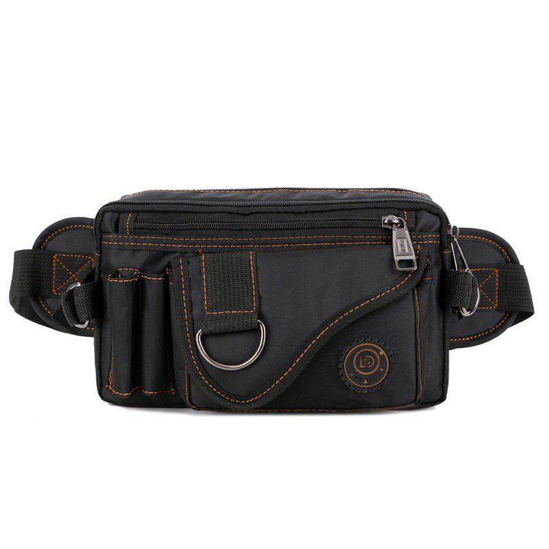Stitching Multi Zips Metal Ring Fanny Pack - BLACK