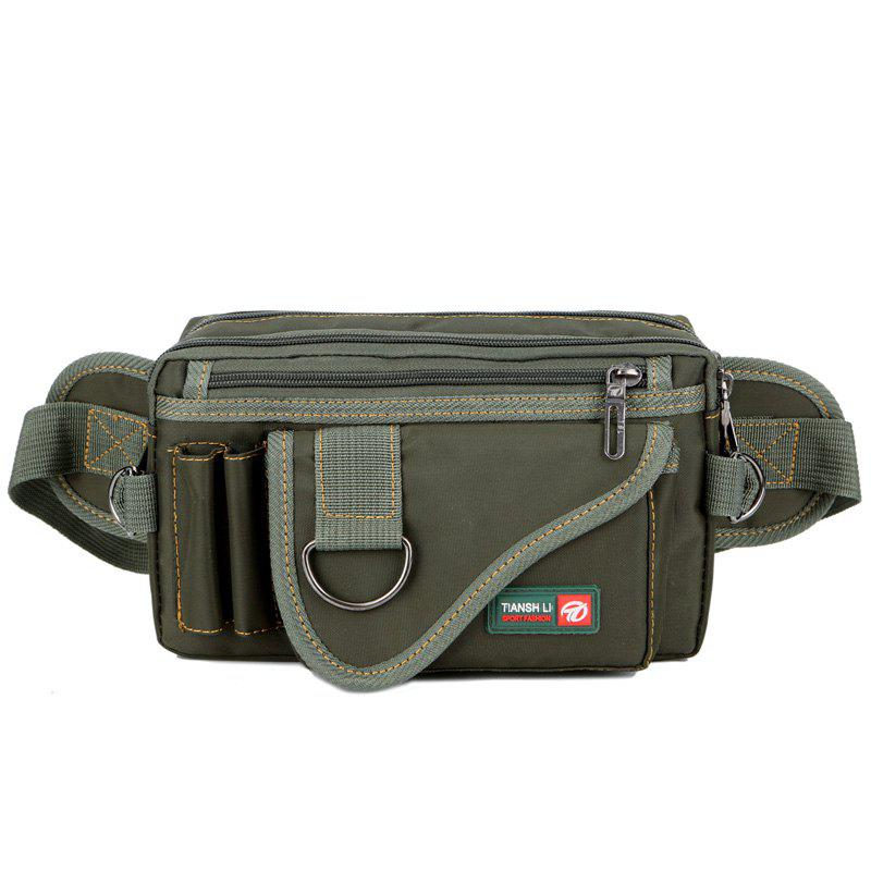 Stitching Multi Zips Metal Ring Fanny Pack - GREEN