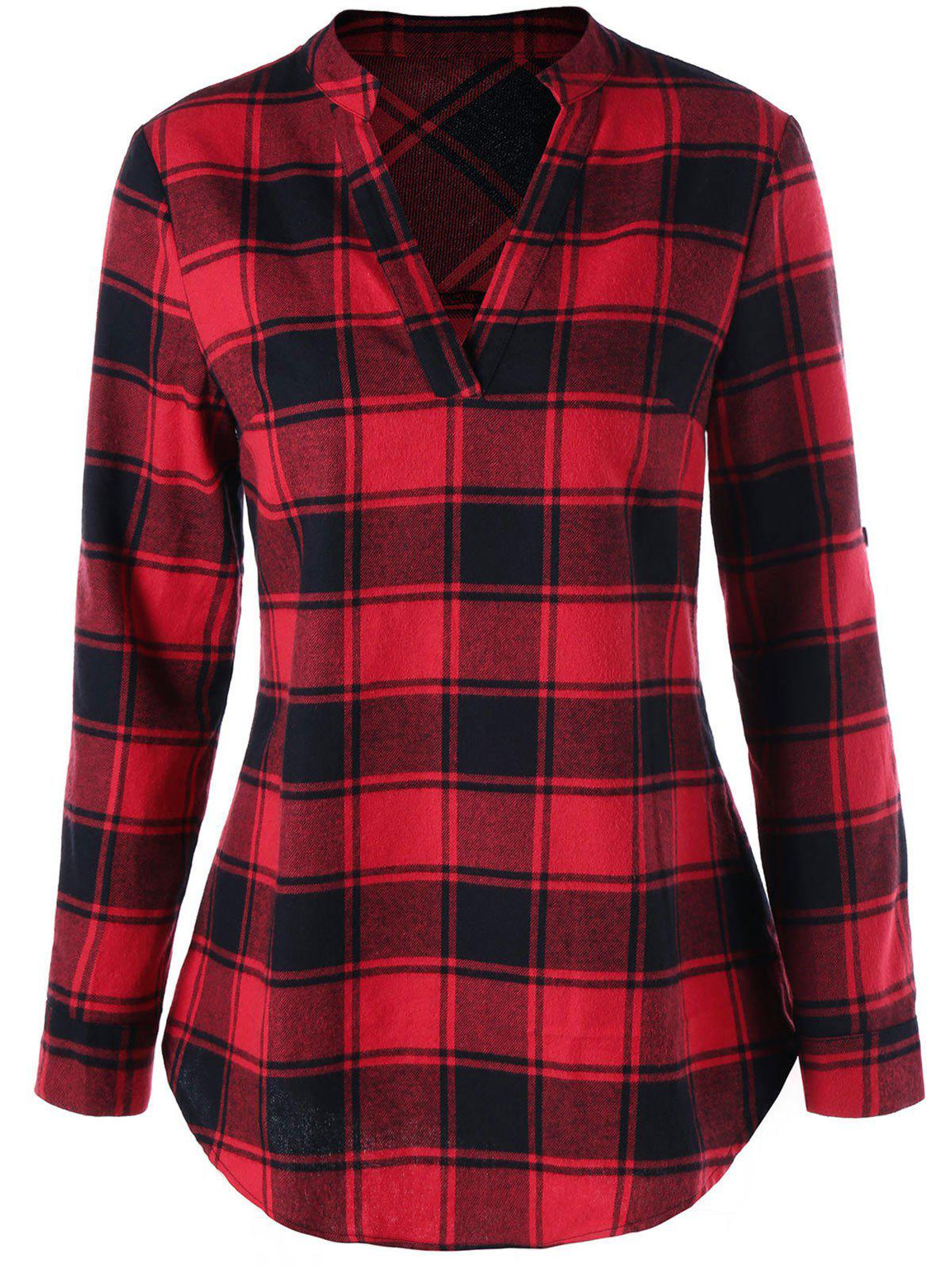 Curved Hem Plaid Blouse op com car vehicle diagnostic tool black