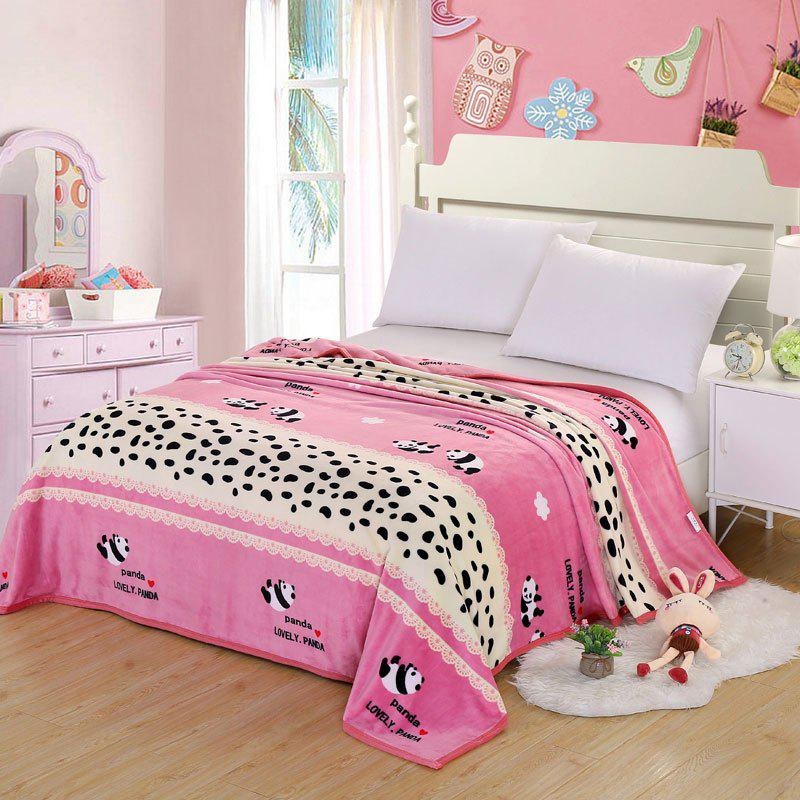 Panda Pattern Soft Bedroom Throw Blanket - ROSE PÂLE DOUBLE