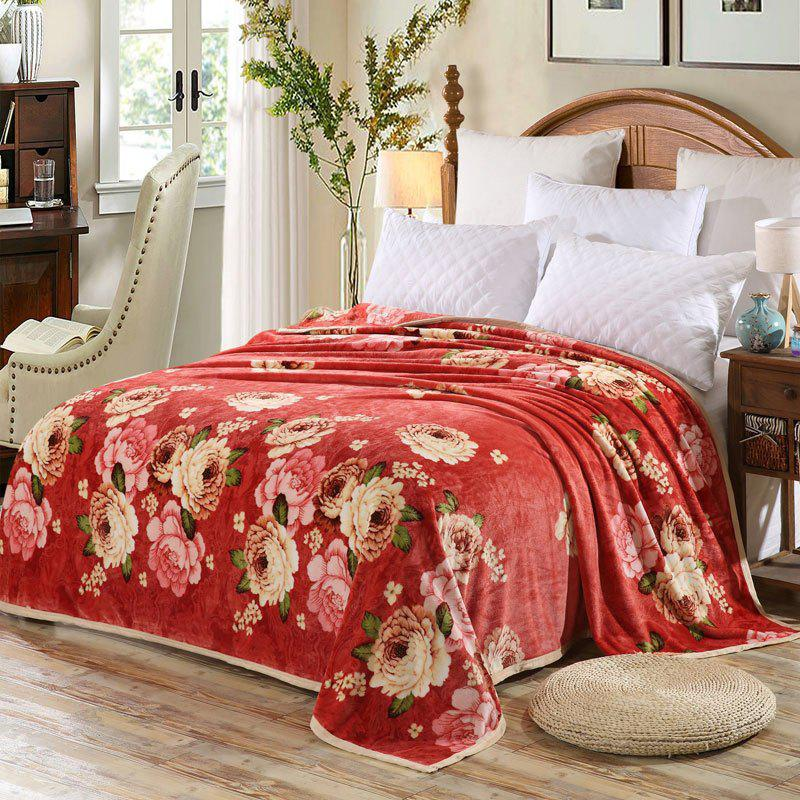 Peony Flower Print Bedroom Soft Blanket - RUSSET RED EURO KING