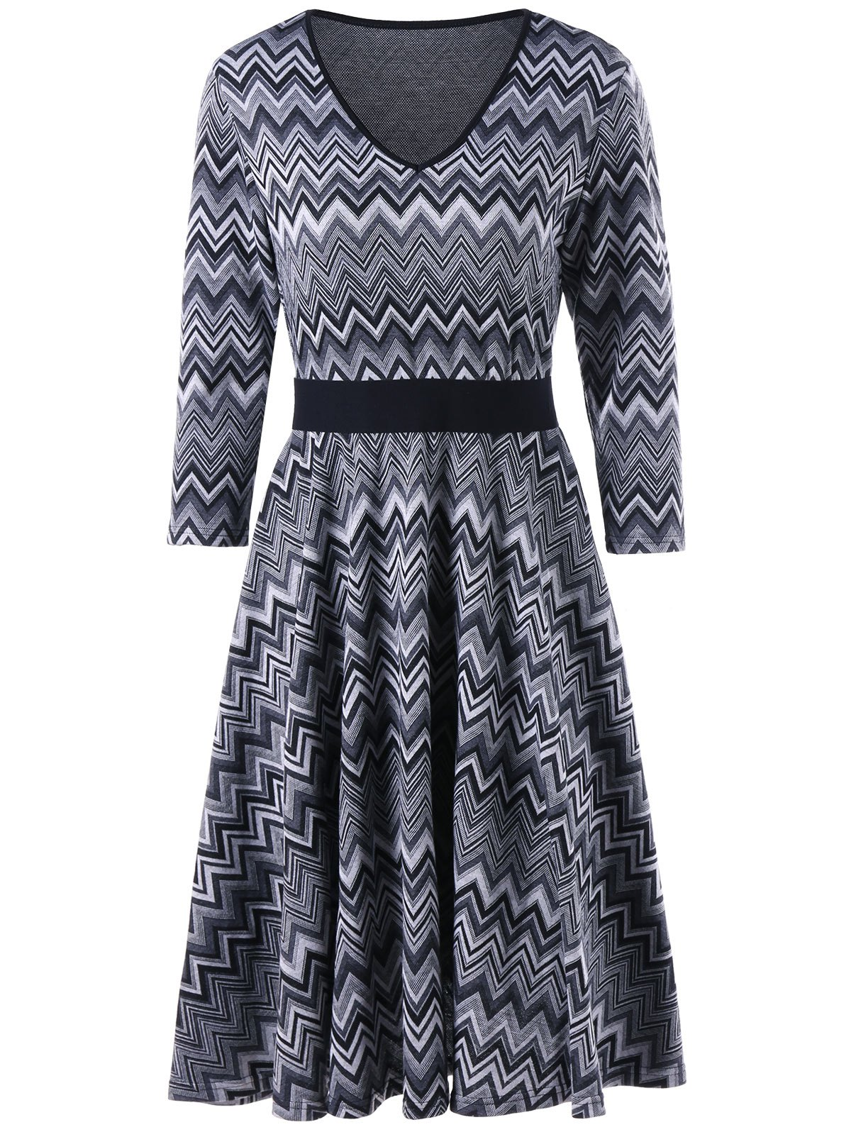 Fit and Flare Chevron Stripes Dress contrast cut and sew chevron full length dress