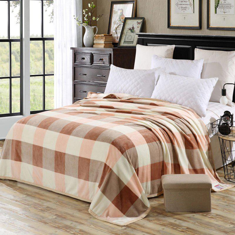 Bedroom Soft Fabric Plaid Throw Blanket - CHECKED EURO KING